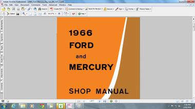 Ford Mercury 1966 factory service repair shop manual mustang comet fairlane falcon