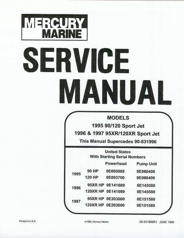 mercury marine 240 efi jet drive service repair manual 90 884822