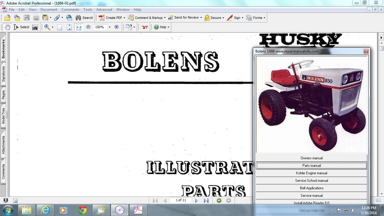 Service Manual For Bolens G10 1225 Wiring Diagram Array Husky Medium Tube Frame Tractor 1962 1978 Rh Aeroteks
