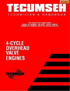 Tecumseh Engine service repair manual 8 to 18 HP cast iron 4 cycle