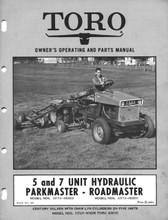 CD containing the following :  Toro 5 unit hydraulic parkmaster and 7 unit road master mower owners operating and parts manual `1961   Toro 5 & 7 unit parkmaster roadmaster commercial professional mower