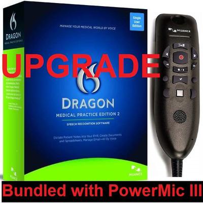 Nuance Dragon Medical Practice Edition 2 Upgrade with PowerMic III