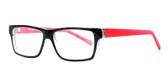 Soho 1017 in Black & Crystal Red Designer Eyeglasses :: Rx Bi-Focal
