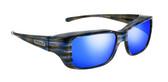 Jonathan Paul® Fitovers Eyewear Small Nowie in Brushed-Steel & Blue Mirror NW001BM