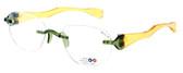 "I Wear America Designer Rimless Eyewear Made in the USA ""Freedom 1"" in Olive Oil :: Custom Left & Right Lens"