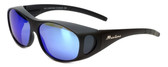 Montana Designer Fitover Sunglasses F01H in Matte Black & Polarized Blue Mirror Lens