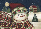 Holiday Christmas Theme Cleaning Cloth, Snowman with Quilted Scarf