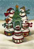 Holiday Christmas Theme Cleaning Cloth, Caroling Snowmen around the Tree