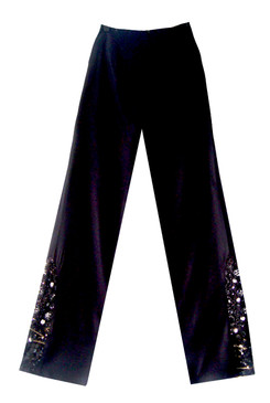 Pedreras Trousers - Classic straight leg trousers, fully lined, zipped at centre back by a concealed zipper, featuring a boat shaped bead embroidered  insert on bottom side leg,  Made of 100% silk crepe, exclusive of lining and beads.