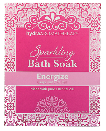 ENERGIZE Take a  luxurious, therapeutic bath soak with Epsom Salt, Sea Salt and a bit of sparkling fizz.  And because we believe in the amazing powers of aromatherapy, our bath soak is scented with only 100% pure essential oils.  Take time for yourself.  Recharge while you soak.  Take more baths.  Ingredients: Sodium Bicarbonate, Magnesium Sulfate (Epsom Salt), Sodium Chloride (Sea Salt), Citric Acid, Essential Oil Blend, Mica. 2 oz