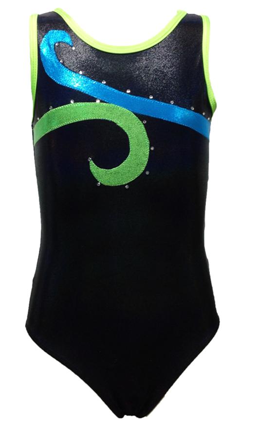 Girls Gymnastics Leotards: blue, black, green