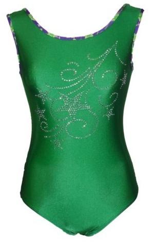 Girls Gymnastics Leotards: green, rhinestones
