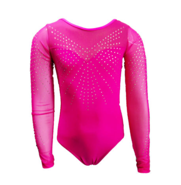 Girls Gymnastics Leotards: pink, rhinestones