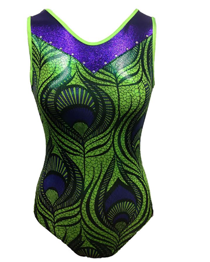 Girls Gymnastics Leotards: Green, Purple, Peacock Design
