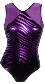 PURPLE ZEBRA! Girls Gymnastics Leotard: Purple & Black Zebra Foil  - FREE SHIPPING and Free Scrunchie!