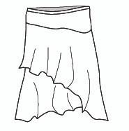 Micro Modal Short Asymmetrical Skirt (M5777)